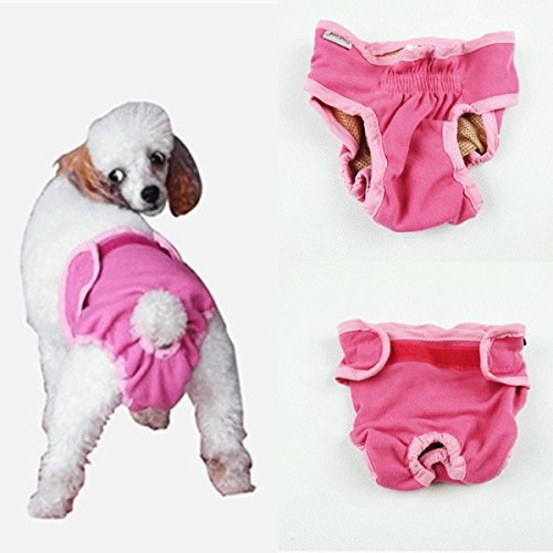 nikka(日華)犬用 サニタリーパンツ マナーパンツ 生理パンツ おむつカバー 女の子用 発情期用 メス 生理用 犬服 小型犬 中型犬 大型犬 ピンク Sサイズ