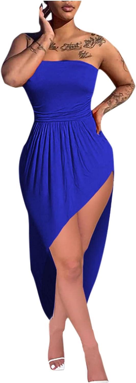 Womens Midi Dresses, Off The Shoulder Tube Top Pure Color Slim Waist Bag Hip Ruched Irregular Hem Summer Dress