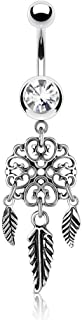 Heart Filigree Dream Catcher CZ Surgical Steel Belly Button Ring Dangle 14 Gauge 3/8 Inch Barbell B440