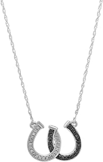 Dazzlingrock Collection 0.13 Carat (ctw) Round Black & White Diamond Horseshoe Pendant (Chain Included), Sterling Silver