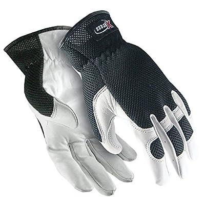 Galeton maX Extra Goatskin Palm Mesh Back Utility Work Gloves with Slip-on Cuff, White/Black