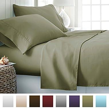 Beckham Hotel Collection 1500 Series Luxury Soft Brushed Microfiber Bed Sheet Set Deep Pocket - King - Olive