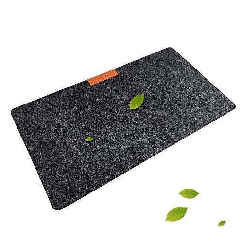 Schreibtischunterlage Filz, AAFGXSP Mousepad 640x330mm Schreibunterlage Deskpad Tisch Schreibtisch-Matte Zubehör - Dunkelgrau