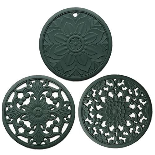 AUCDK Salvamanteles Mat Pot Cojín del Aislamiento De Calor Coaster Hueco Tallado De Silicona Antideslizante Flexible para 3pcs Encimera Verde
