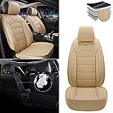 Tuqiang Fundas para asientos de coche para BMW X3 X5 E83 F1 325i 330i 328i E90 F22 528i, PU cuero impermeable funda de asiento de la fila delantera color beige