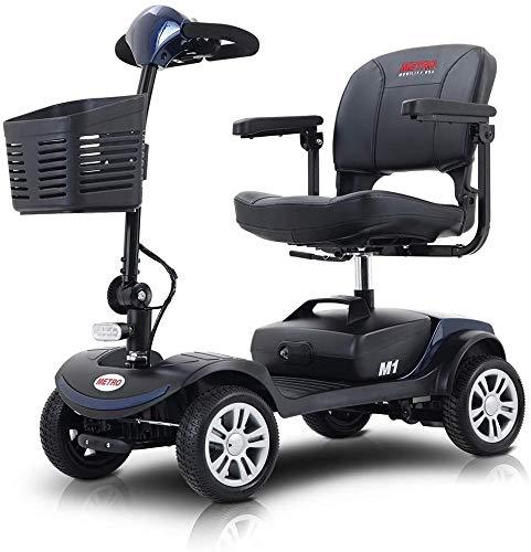 ZEIGER 電動車いす 電動シニアカート 走行約15km 折りたたみ 軽量 300Wモーター 時速8km/h 運転免許不要 充電 バッテリー 介護 介助用 自走 自走式 歩行補助 電動車椅子 輪 快適で安全な旅行 (青)