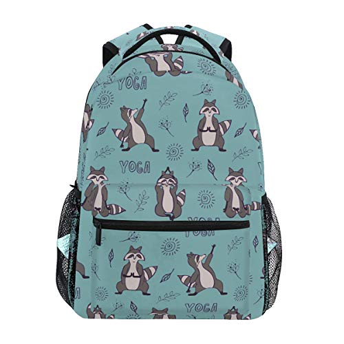 My Daily Mochilas escolares Yoga Mapache Lindo Portátil Bolsa Mujeres Casual Daypack Niños Niñas Bookbag