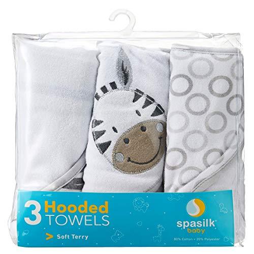 Spasilk Juego de 3 toallas suaves con capucha de rizo para niños y niñas recién nacidos