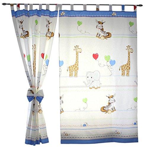 TupTam Tende con Bracciali per Camerette per Bambini 2 pz, Animali Blu, c. 155x95 cm