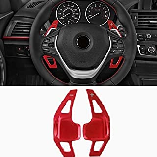 Partol Steering Wheel Paddle Shifter Extensions For BMW, Aluminum Metal Steering Wheel Paddle Shifter Fit For BMW 2 3 4 X1 X2 X3 X4 X5 X6 Series,F Chassis (Red)