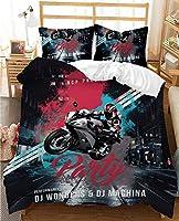 3Dデジタルプリントモーターバイク羽毛布団カバー寝具セット、モダンな装飾2/3 PCSベッドディング1/2ピローシャム付き、ティーンエイジャー/男の子 (Color : C, Size : 140x210cm)