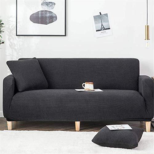KWOPA Tejido De Punto Funda De Sofá,1-Pieza Elasticidad Sofá Slipcover para 3 Cushion Couch,Lavable Funda Cubre Sofá para Sofá Protector De Mascotas-Negro. 1 Seater 90-140cm(35-55inch)