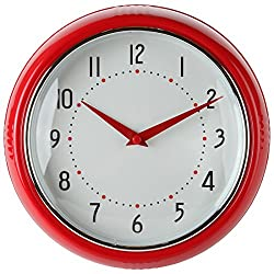 Lily's Home Retro Inspired Kitchen Wall Clock, Large Easy-to-Read Dial, Battery Powered Quartz Timepiece, Small Stylish Clock Adds Character to Any Bedroom, Red (9.5 Diameter)