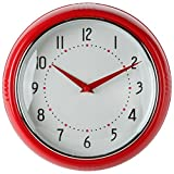 Lily's Home Retro Inspired Kitchen Wall Clock, Large Easy-to-Read Dial, Battery Powered Quartz Timepiece, Small Stylish Clock Adds Character to Any Bedroom, Red (9.5' Diameter)