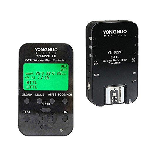 Yongnuo YN622C Kit TX - Kit Transceptor Yongnuo YN-622 y emisor TX YN-622tx para Canon (FEC, FVL, LCD, 100 m), Color Negro