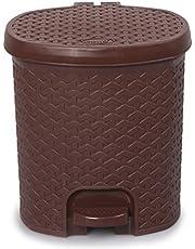 Cello Classic Plastic Pedal Dustbin, 12 Liters, Brown