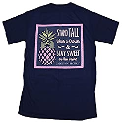 Jadelynn Brooke T-Shirt With Pocket Navy - Pineapple Stay Sweet