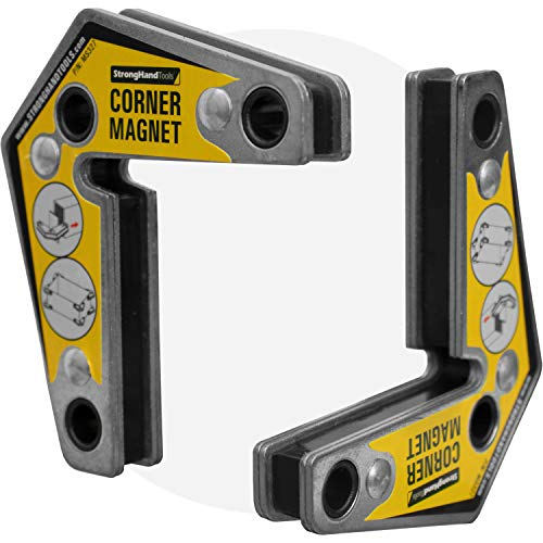 Strong Hand Tools - VAL-MST327 , Magnetic Corner Squares, (Twin Pack), 12°, 90° & 60° Angle Setting, Max Pull Force: 30 lbs, Low Profile, 3-1/4 x 3-3/4 x 5/8″, MST327
