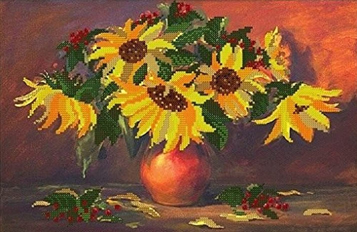 Bead Embroidery kit Sunflowers Beaded Stitching Floral Pattern Needlepoint Handcraft Tapestry kit wgbidgkuzkxnh310