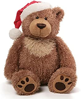 GUND Slumbers Teddy Bear Stuffed Plush Animal Exclusive Version with Santa Hat for Christmas
