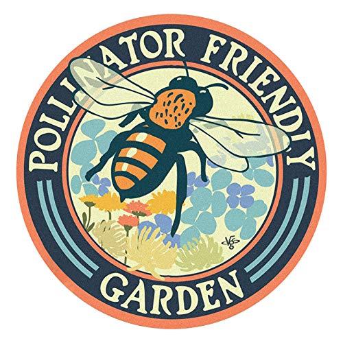 """Cartel de jardín con diseño de abejorro con texto en inglés """"Happy World Bee Day"""""""