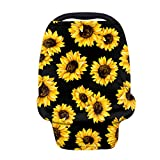 KUIFORTI Sunflower Print Baby Car Seat Covers Multifunctional Infant Seat Canopy Nursing Cover Breastfeeding Scarf Soft Breath 360 Coverage for Boys Girls Gifts