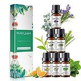 MAYJAM Set de Aceites Esenciales 6 x 10 mL, Eucalipto, Lavanda Pura, Naranja Dulce, Limoncillo, Menta, árbol de té