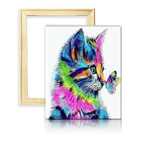 decalmile Malen Nach Zahlen Kits DIY Ölgemälde Leinwand Gemälde für Erwachsene Kinder Katze und Schmetterling 16