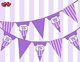 PARTY DECOR Wimpelkette mit Aufschrift Happy 75th Birthday, 12 Flaggen, 150 cm, Violett / Violett / Flieder