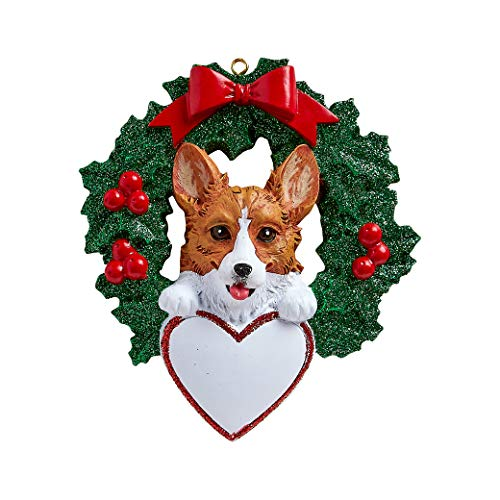 Personalized Corgi with Wreath Christmas Tree Ornament...