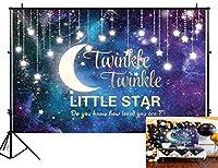Funnytree 7 x 5フィート キラキラ 星 写真背景 星空 グリッター 銀河 月 背景 子供 ベビー シャワー 誕生日パーティー バナー 装飾 写真スタジオ フォトブース小道具