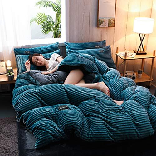 HJSM - Juego de ropa de cama de franela polar de doble cara de cuatro piezas, con cierre de cremallera y calor cómodo, funda de edredón de franela de lana polar coral cálido (azul claro, 220 x 240 cm)