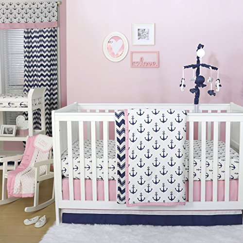 Anchor Nautical Theme 3 Piece Baby Crib Bedding Set in Pink/Navy by The Peanut Shell