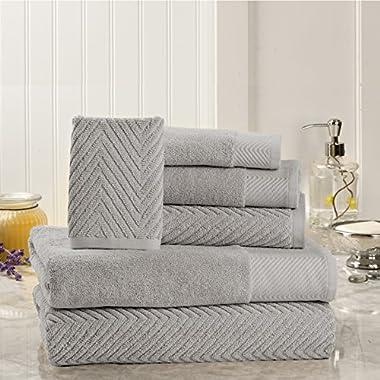 6 Piece Premium Cotton Bath Towels Set - 2 Bath Towels, 2 Hand Towels, 2 Washcloths Machine Washable Super Absorbent Hotel Spa Quality Luxury Towel Gift Sets Chevron Towel Set - Platinum