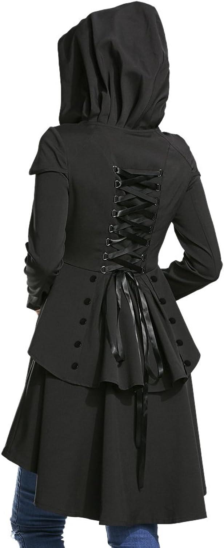 BeautyGal Women's Hooded Coat High Low Hem Lace Up Layered Casual Jacket Coats