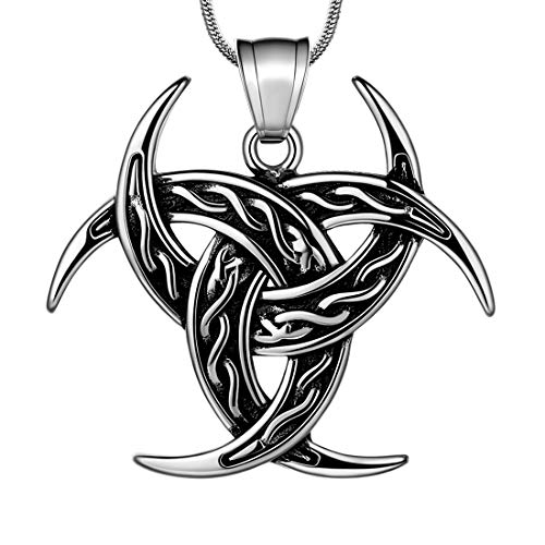 Celtic Knot Necklace Viking Pendant - Celtic Norse Triple Odin Horn Crescent Moon of Oden Necklace Mens 316L Stainless Steel Triskelion Amulet Pendant Pewter Tribal Protection Triskele Jewelry SP0053G
