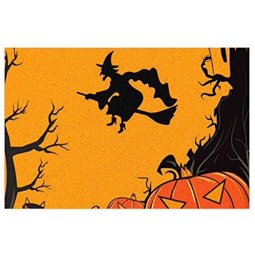Alfombra de cocina de Halloween espeluznante calabazas y bruja voladora, alfombra de piso de cocina, alfombra de pie extra apoyo y gruesa, impermeable PVC lavable, antideslizante