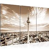 Runa Art Berlin Fernsehturm Bild Wandbilder Wohnzimmer XXL Beige Braun Städte 120 x 80 cm 3 Teilig Wanddeko 015931b