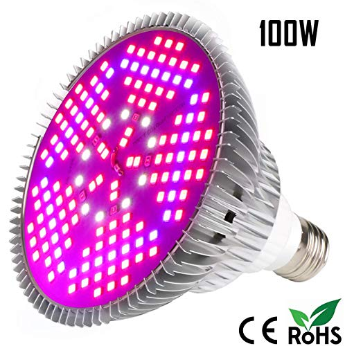 Derlights Led Pflanzenlampe E27 100W Vollspektrum Pflanzenlampen 150 LEDs Pflanzenleuchte Wachstumslampe für Pflanzen Gewächshaus Zimmerpflanzen, Blüte, Blumen und Gemüse [Energieklasse A+++]