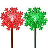 3D Snowflake Lights Led Outdoor Landscape Christmas Decoration Solar Color Changing Fairy Ornament Charming Garden Display Wedding Crystal Yard Art Party Decor Lighting Fixtures (Set of 2)