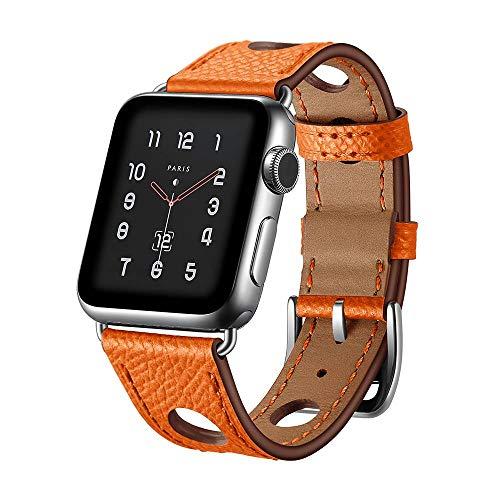 123Watches.nl - Apple watch leren hermes band - oranje - 38mm en 40mm