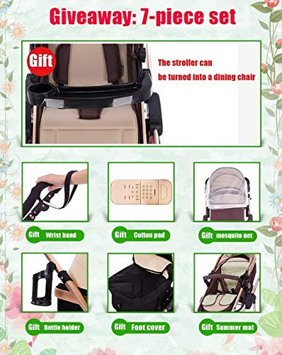 LAMTON High-View Stroller, Multi-Position Adjustable Shock-Absorbing Folding Four Season Jogging Stroller for Infants from 0 to 36 Months. Send 7 Gifts LAMTON Lycra skin-friendly fabric. Thick and non-pleated, soft and silky, warm and breathable, the best choice for baby soft skin. The frame connection is supported by a spring bracket, which effectively alleviates the shaking of the body, makes the cart more stable, and the baby sleeps more securely. Big fill cradle. High view. Reversible stroller seat. damping. Bump bumper. Large storage basket. Front wheel rotation with suspension spring. Fully adjustable 5-point seat belt Made of high-quality carbon steel pipe: streamlined curve, no rust, anti-oxidation, impact resistance, high strength, can adjust the most comfortable push position; reversible baby stroller seat allows the baby to easily face the parents or face the world. 8