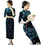 Hopereo Cheongsam 2017 Terciopelo Impresión Qipao Vestido Vintage Moda Mejorado Otoño Vestidos Largos Madre Fiesta Boda
