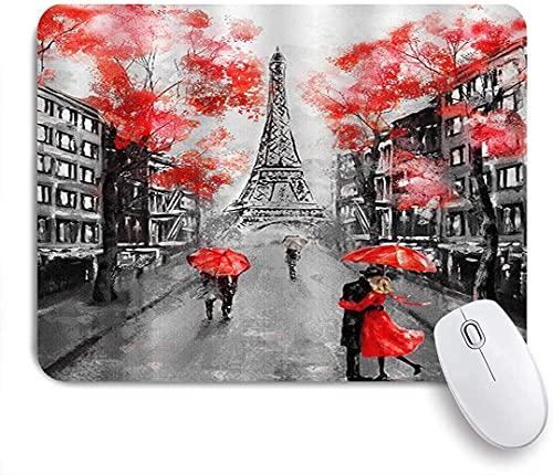 Alfombrilla de ratón para juegos, Torre Eiffel Pareja Rojo Negro Paisaje urbano francés París Landmark Vintage, Alfombrilla de ratón con base de goma antideslizante para portátiles Computadoras Alfomb