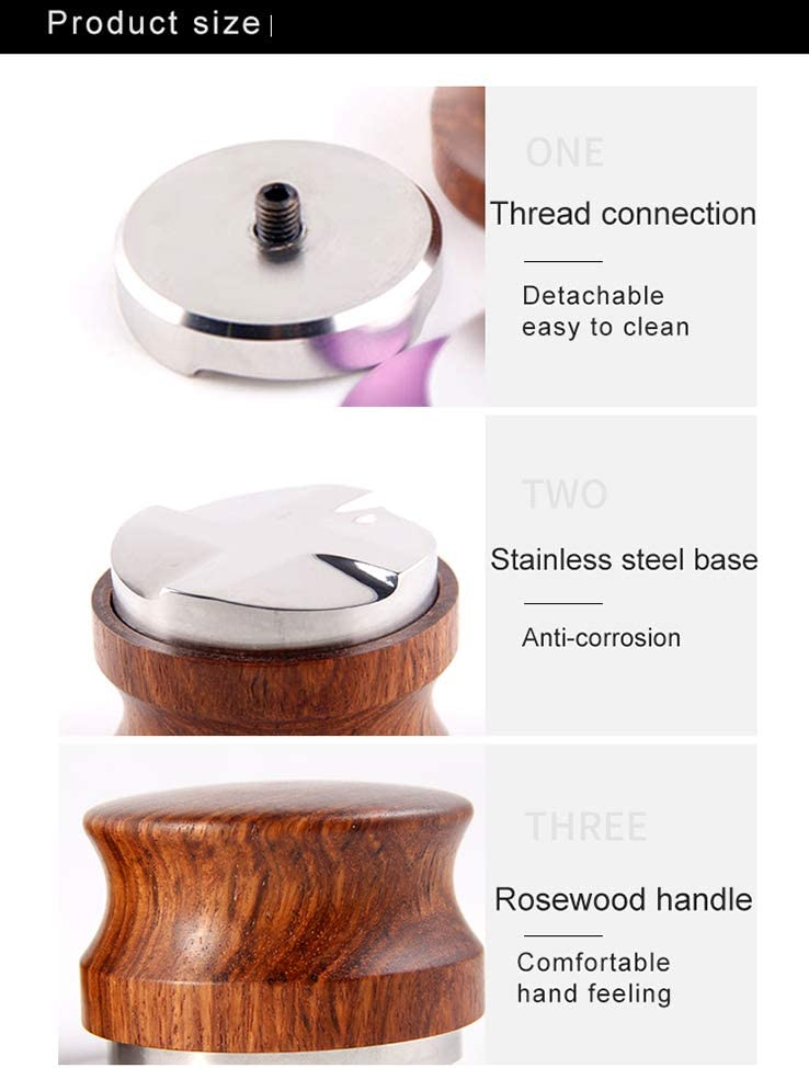 Espresso Palm Tamper 58mm Coffee Distributor Adjustable Height Coffee Leveler Tool with Four Angled Slope Stainless Steel Base /& Rosewood Handle Fits for 59mm Breville Portafilter