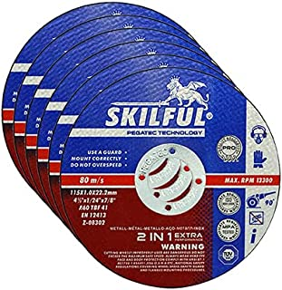 SKILFUL PRO cut off wheels 6-Pack,universal metal stainless steel cutting,4-1/2 inch