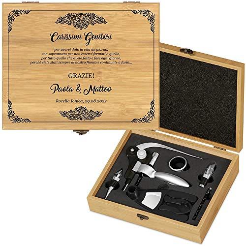 MURRANO Kit accessori da vino Deluxe - Set Cavatappi da Vino Personalizzato - Scatola in legno di bambù + 8 pezzi di Accessori Vino - idee regalo per anniversario - Ringraziamento