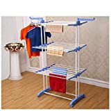 Kumaka Heavy Duty Space Saving/ Movable/ Mild Steel Double Pole Cloth Drying Stand & Laundry Rack Stand with Weight Capacity above 40Kg