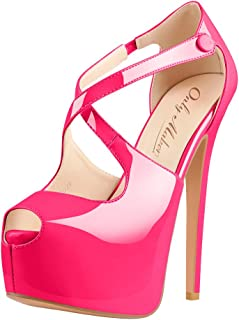 Onlymaker Women's High Heel Peep Toe Platform Stiletto Ankle Crisscross Strap Buckle Snap Dress Party Heeled Sandals