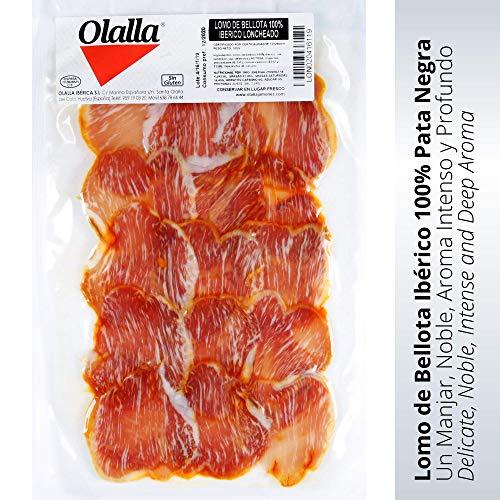 Lomo Iberico de Bellota Loncheado - Embutidos Ibericos de Bellota Pata Negra - Envasados al vacio - Manjar iberico Delicioso y Exquisito - Aroma Intenso Profundo y lleno de matices - 1 Sobre 100 gr